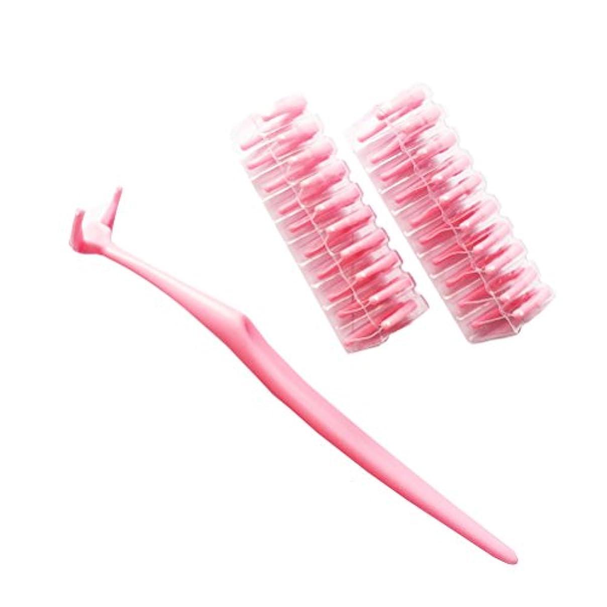 原稿スチール許可ROSENICE デンタルフロス20個交換可能なプラスチック製の歯ブラシのナイロンワイヤーフロススティック(ピンク)