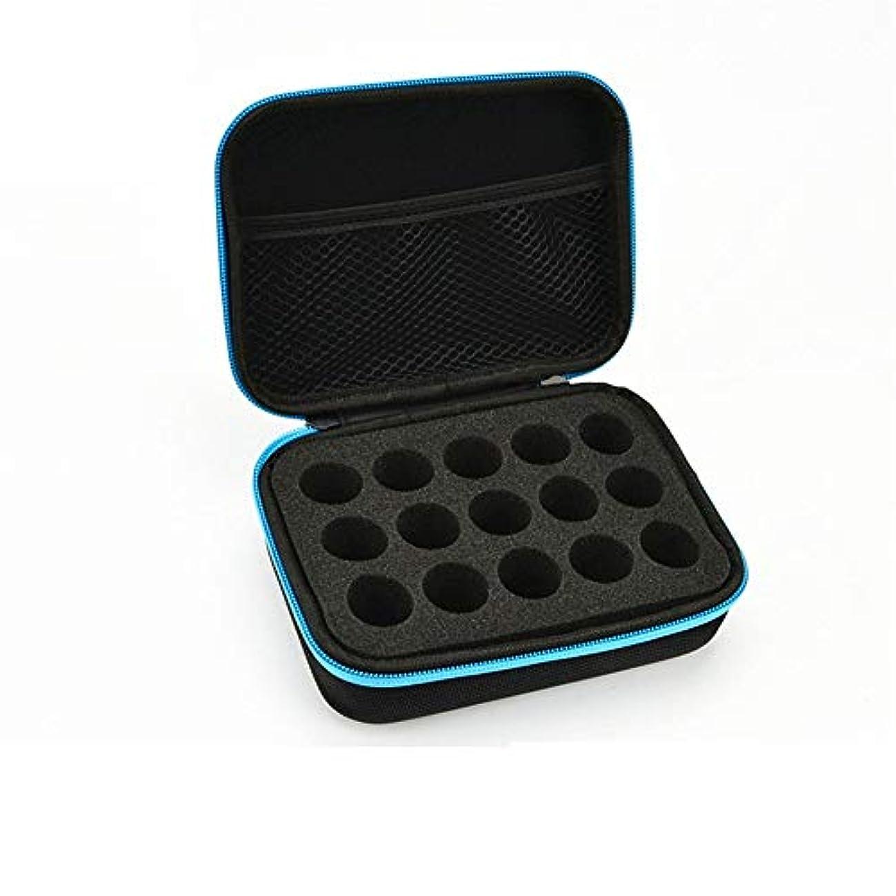 忙しい軽蔑する硬さエッセンシャルオイルストレージボックス ケース収納キャリングエッセンシャルオイルは、10?15mlのトラベルオーガナイザーポーチバッグブルーに適合します 旅行およびプレゼンテーション用 (色 : 青, サイズ : 17X12.5X6CM)