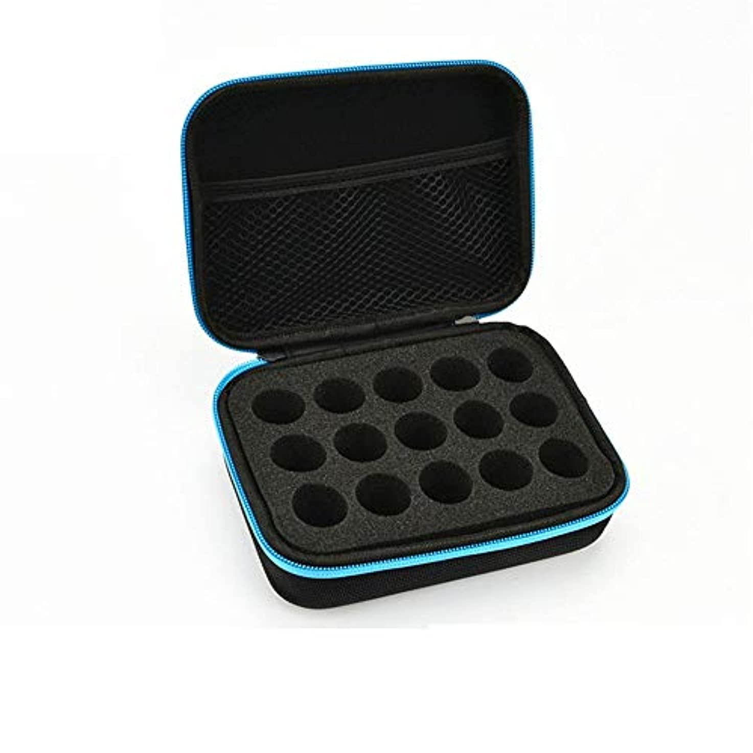 ディスパッチトランジスタリップエッセンシャルオイルストレージボックス ケース収納キャリングエッセンシャルオイルは、10?15mlのトラベルオーガナイザーポーチバッグブルーに適合します 旅行およびプレゼンテーション用 (色 : 青, サイズ : 17X12.5X6CM)