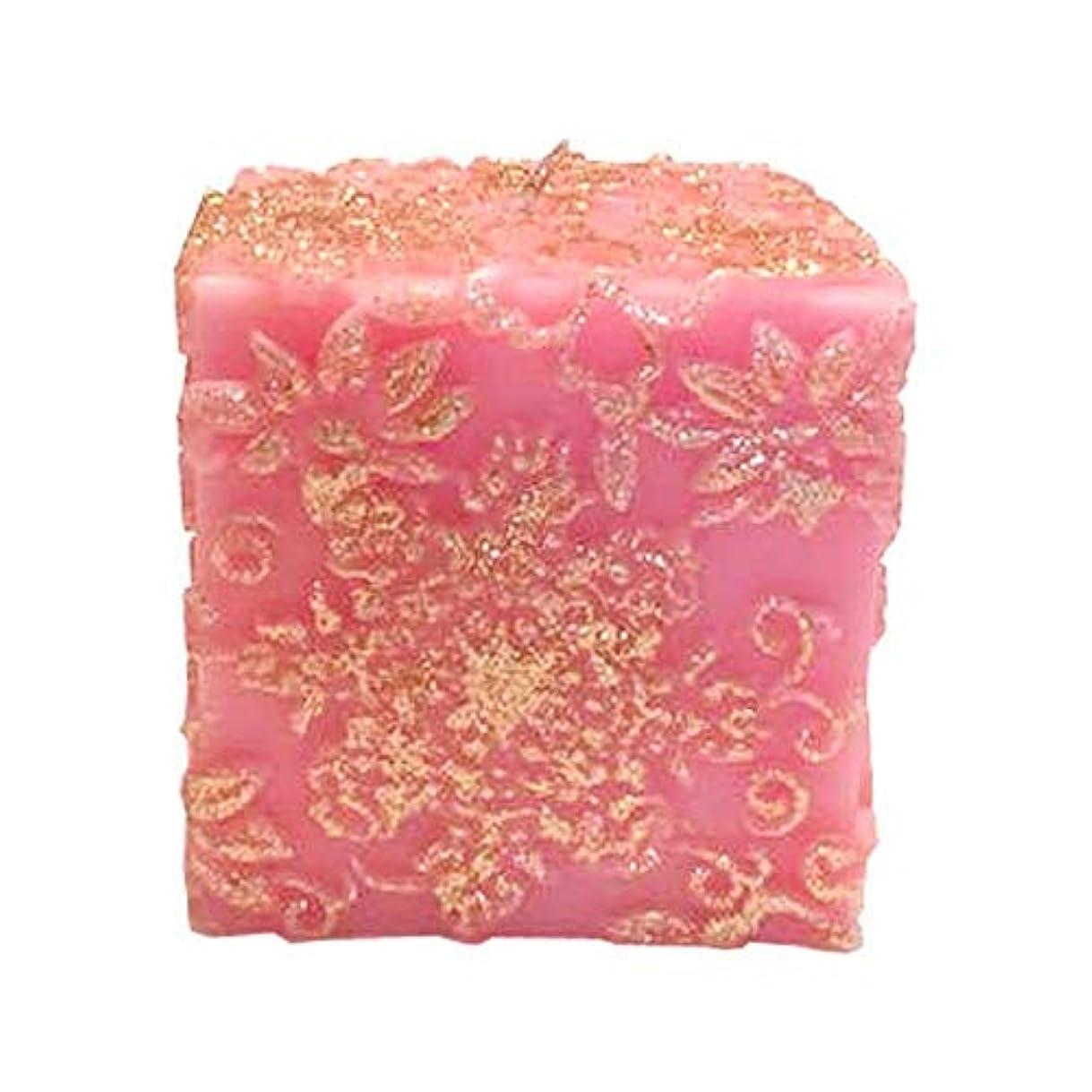 正気パンサー飲食店スノーフレークフラワー Cube (Pink×Gold Gliter)