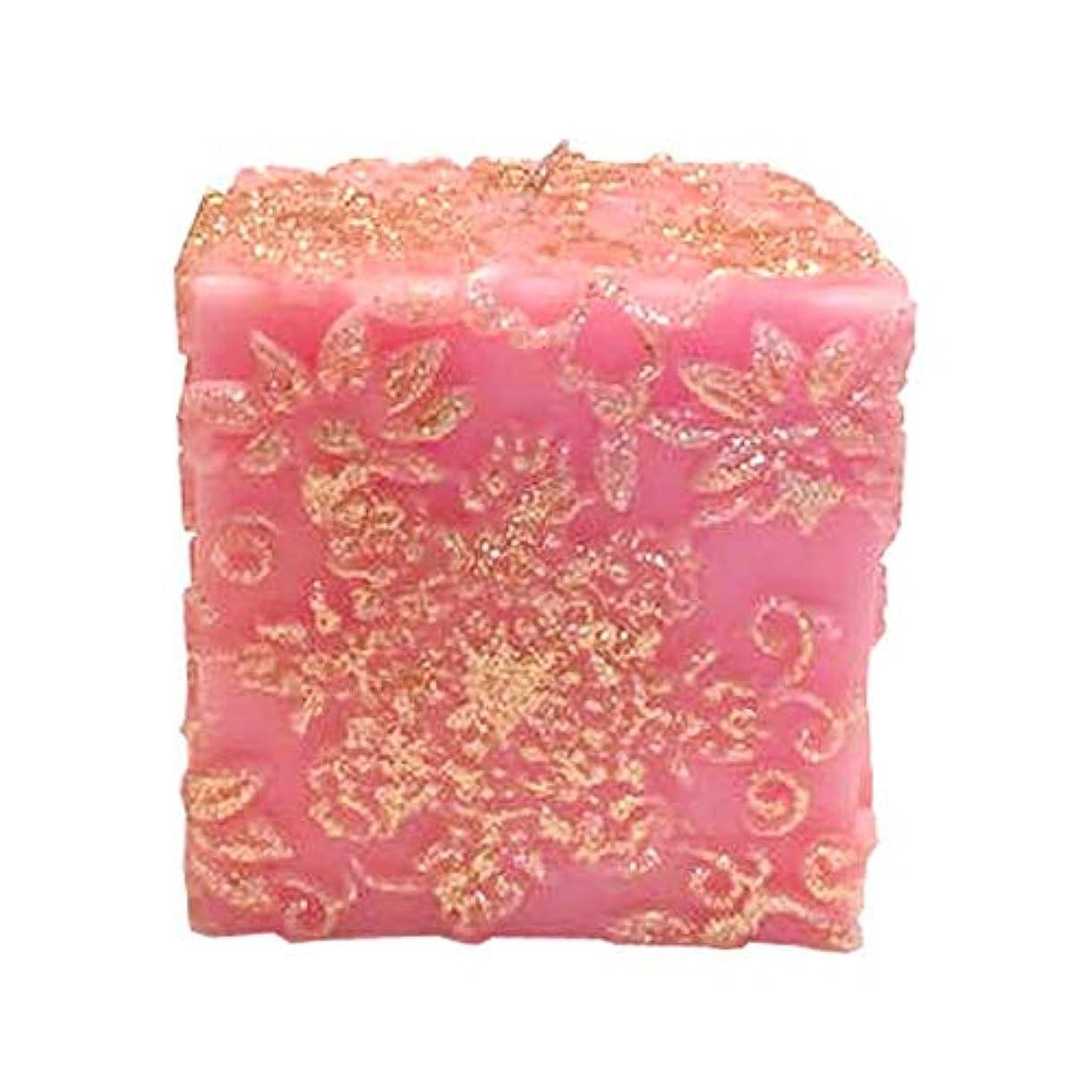 患者関係するロマンチックスノーフレークフラワー Cube (Pink×Gold Gliter)