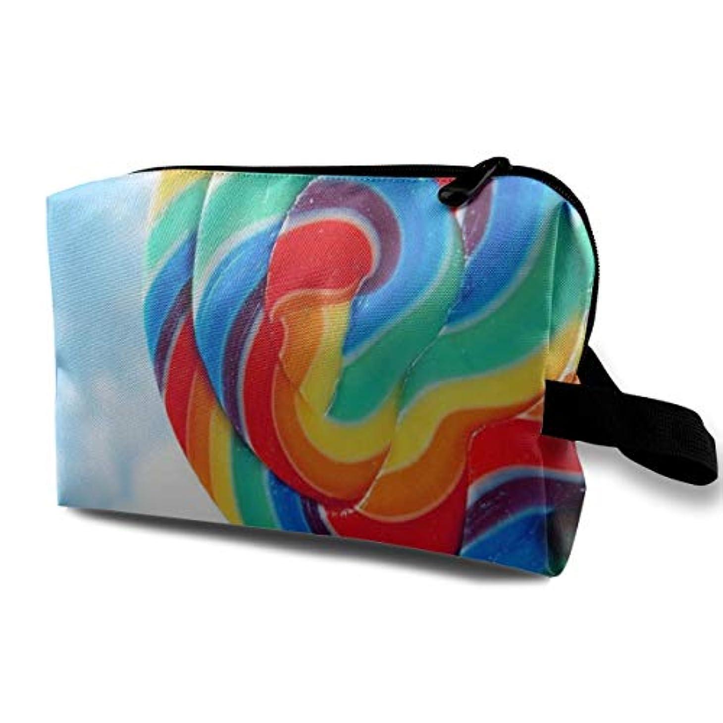 タッチ願う肺炎Colorful Lollipop Background 収納ポーチ 化粧ポーチ 大容量 軽量 耐久性 ハンドル付持ち運び便利。入れ 自宅?出張?旅行?アウトドア撮影などに対応。メンズ レディース トラベルグッズ