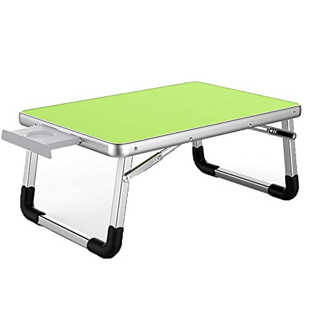 ドロップバブル締め切り折りたたみテーブルラップトップデスクベッドの机の折り畳みテーブル小さなテーブル怠惰なテーブルの学生寮のデスクの正方形の緑 60 * 40cm