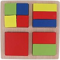 Flameer 木製パズルおもちゃ 正方形パズル カラーシェイプ ソーター 幼稚園学習玩具