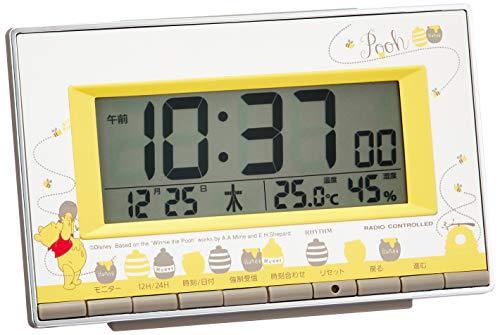 くまのプーさん 目覚まし時計 電波時計 温度・湿度計付き リズム時計 8RZ133MC08