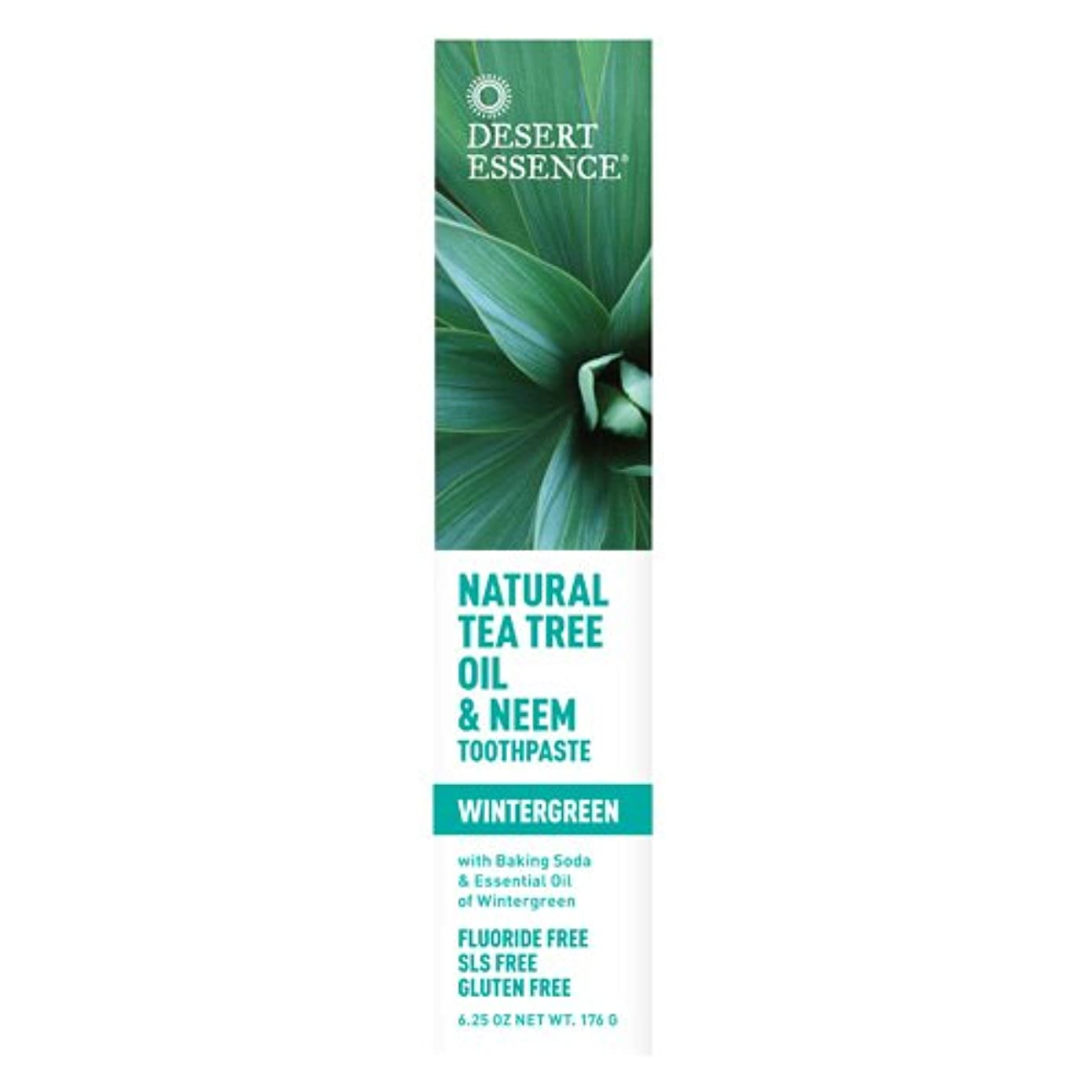 プラスチック廃止政治Desert Essence, Tea Tree Oil & Neem Tooth Winter 6.25 oz