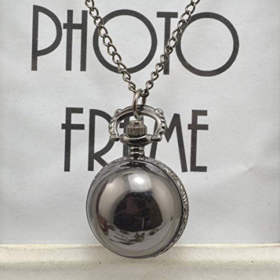 テーブルを設定するライド適度なヴィンテージアンティークラウンドダイヤルクォーツポケット時計ネックレスペンダントメンズレディース最高の誕生日プレゼントのための時計-ブラック