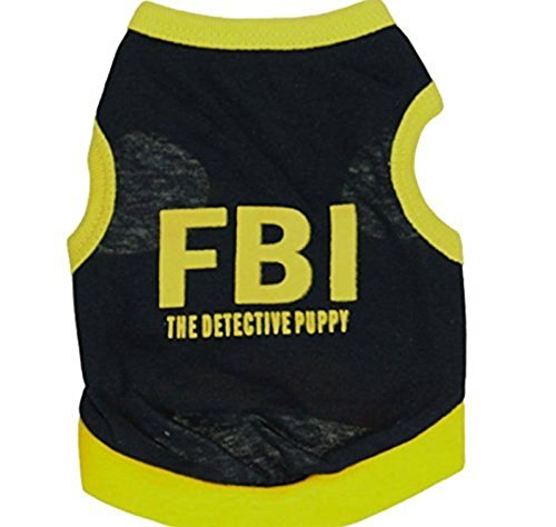 ペット ドッグ ウエア FBI タンクトップ Tシャツ 可愛い 犬 の 服 (M, 黒黄)...