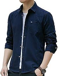 シャツ メンズ オシャレ 長袖 無地 春 夏 秋 細身 シャツ メンズ オックスフォードシャツ 綿 スナップ (#4-ブルー, 3XL)