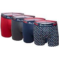 Ben Sherman Men's Underwear Ultra Soft Microfiber Boxer Briefs with Contoured Support Pouch (Navy/Navy/Red/Grey, Medium)