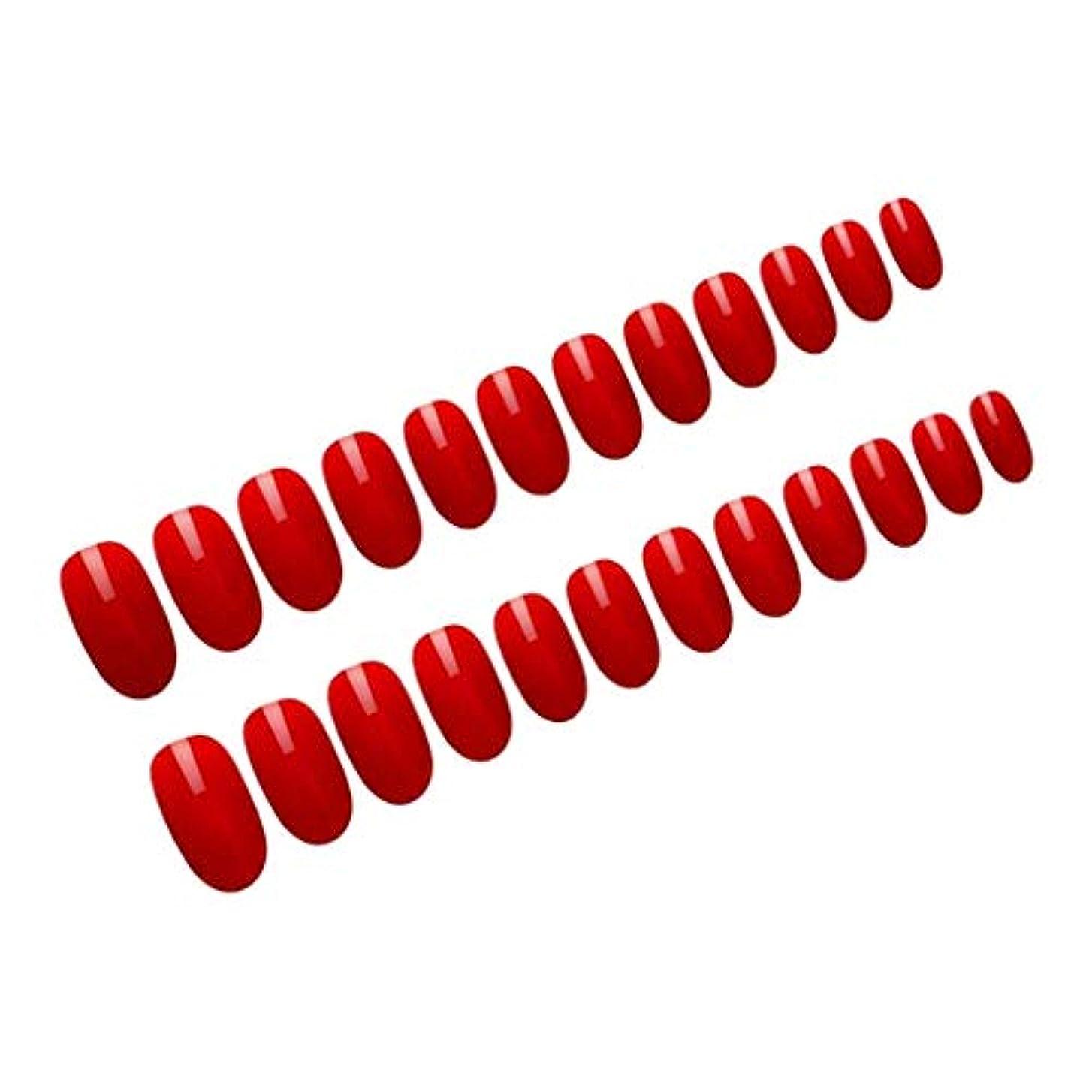 製油所不幸不信Sharplace ネイルチップ ロング フルカバー ネイルのヒント ネイルアート ネイルデコレーション 全6カラー - 赤