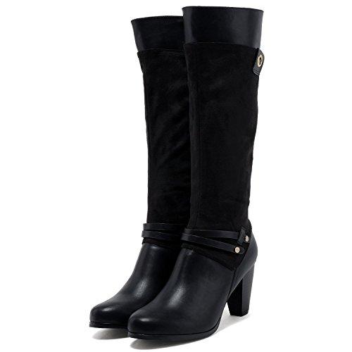 (フェリシア フェリーチェ)Felicia Felice 異素材コンビ金ハトメデザインのロングブーツ 23.0cm ブラック黒