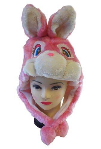 Plushピンクウサギ動物帽子耳フラップ付き–ウサギ帽子...