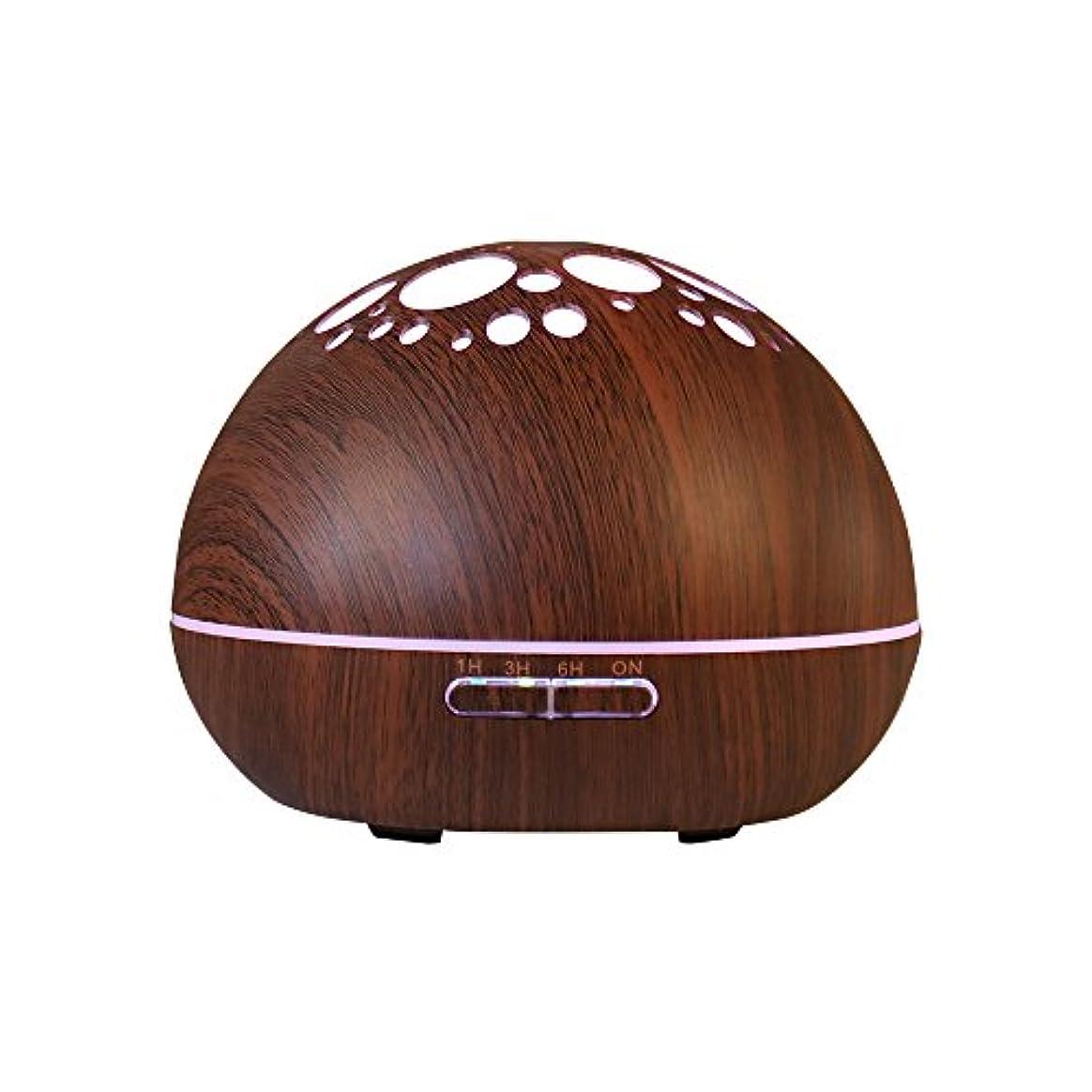 バイオリン無意識くつろぎアロマディフューザー 超音波式 加湿器 7色変換LED搭載 時間設定可能 300ML 卓上 アロマライト 2モード 木目調 (ブラウン)