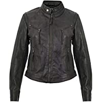 Women's Classic Real Leather Dark Green Multi-Pocket Leather Biker Jacket