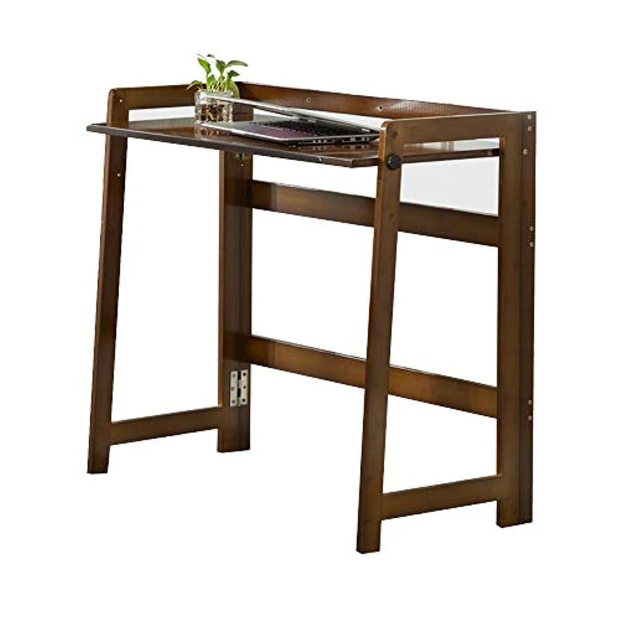 フォーク王族の間でLJHA zhuozi 折りたたみテーブル、卓上折りたたみコンピューターテーブル、トレーニングテーブル、スタンディングデスク、ブックトレイ、ディナートレイ、ブラウン (Size : 84cm)