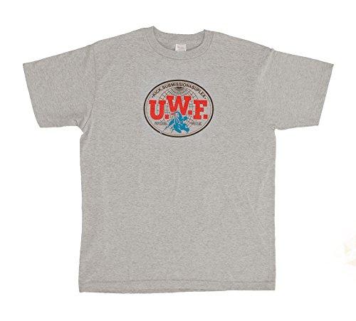 U.W.F.伝説胸マーク大Tシャツ (L, グレー)