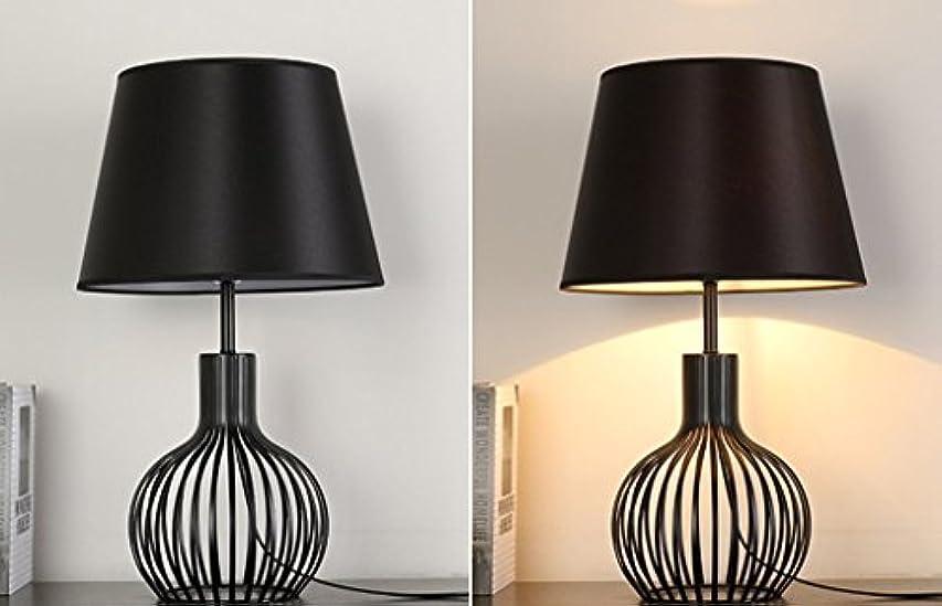 飛び込む付録聴く現代のテーブルランプメタルバスケットケージスタイルのテーブルランプベッドルームのベッドサイドの居間の研究と仕事の装飾のホテルのデスクランプ、黒と白(色:黒),Black