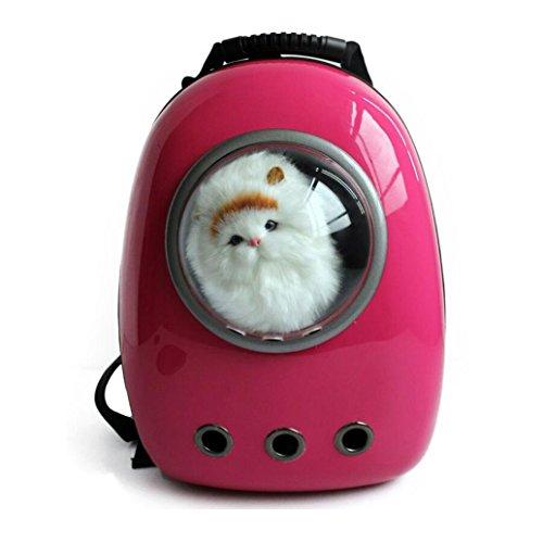 Iiomise ペット バッグ ペット用キャリーバッグ ?宇宙船カプセル型ペットバッグ 犬猫兼用 ペットバッグ ネコ ニャンコ 犬 ペット用品 リュックサック 人気ペット鞄 (PC-濃くピンク)