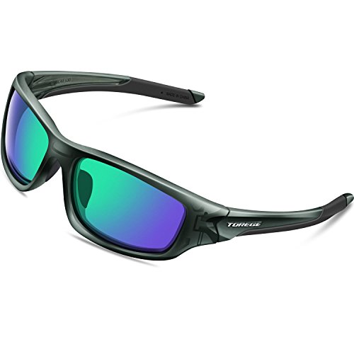 Torege スポーツサングラス 偏光レンズ 超軽量 TR90 UV400 紫外線カット サングラス/ 自転車/釣り/野球/テニス/スキー/ランニング/ゴルフ/ドライブ 運動メガネTRG-011 (透明グレー&グリーンレンズ)