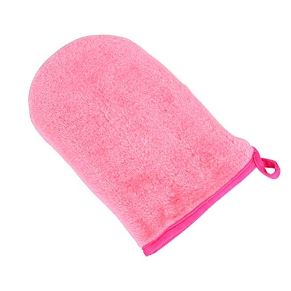 礼拝不注意合意HEALIFTY フェイシャルクリーニンググローブメークアップリムーバー手袋再利用可能なフェイシャルクロスパッド(ロージー)