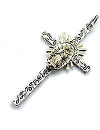 [シルバーワン]ge シルバー925 十字架にグアダルーペの聖母 黄金マリア象 クロス ペンダントトップ ネックレス メンズ ゴールド