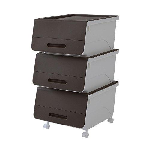 RoomClip商品情報 - 山善(YAMAZEN) オープンボックス フタ付き収納ボックス 3個組 浅型 キャスター付き サンドブラウン