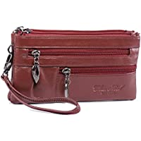 Wristlet Wallet for Women Leather Clutch Handbag Small Crossbody Purse Cellphone Bag Pouch + Nail Clipper