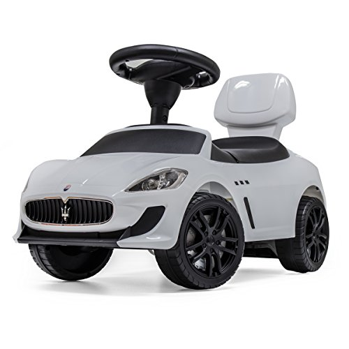 マセラティ公認 乗用玩具 [GranCabrio MC] 【ホワイト】 足けり 転倒防止ストッパー 背もたれ シート開閉 収納 多機能ハンドルで音楽