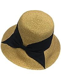 YueLian バケットハット麦わら帽子 UVカット シンプル ハット 日焼け対策 レディース 女優帽子 ハット アウトドアキャップ 折りたたみ つば広 ビーチ 通気
