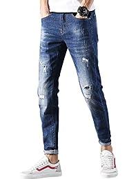 (ゆうや)YoYeah メンズ デニムスキニー スリムジーンズ ダメージ メンズ アンクル丈 ダメージ デニム パンツメンズ スキニーデニム 気質UP ストレッチ スウェットデニム
