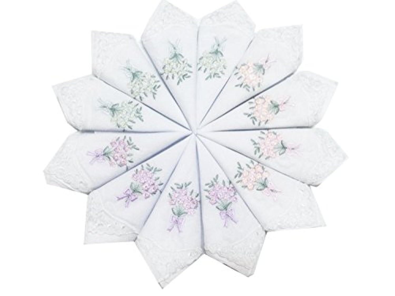 レディースコットン刺繍ハンカチバルク