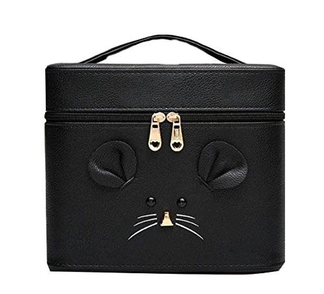 以来どこでもなぜなら化粧箱、黒漫画のマウス化粧ケース、ポータブル旅行化粧品ケース、美容ネイルジュエリー収納ボックス (Size : S)