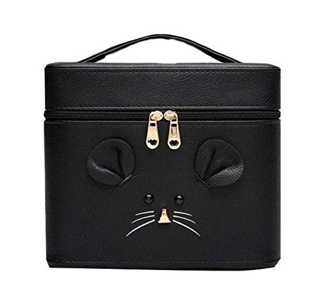 マニュアル個性中断化粧箱、黒漫画のマウス化粧ケース、ポータブル旅行化粧品ケース、美容ネイルジュエリー収納ボックス (Size : S)