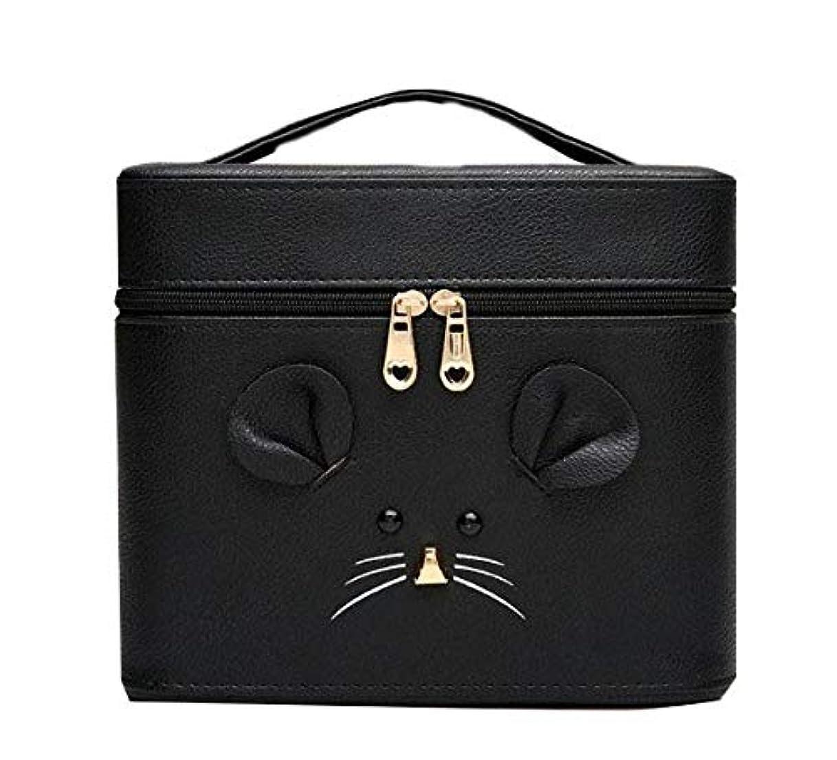 グレートバリアリーフメニュー練習した化粧箱、黒漫画のマウス化粧ケース、ポータブル旅行化粧品ケース、美容ネイルジュエリー収納ボックス (Size : S)