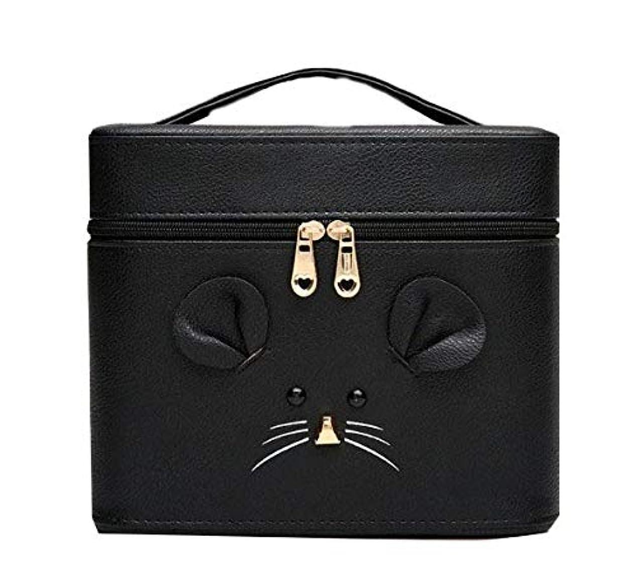 実行リンケージブース化粧箱、黒漫画のマウス化粧ケース、ポータブル旅行化粧品ケース、美容ネイルジュエリー収納ボックス (Size : S)