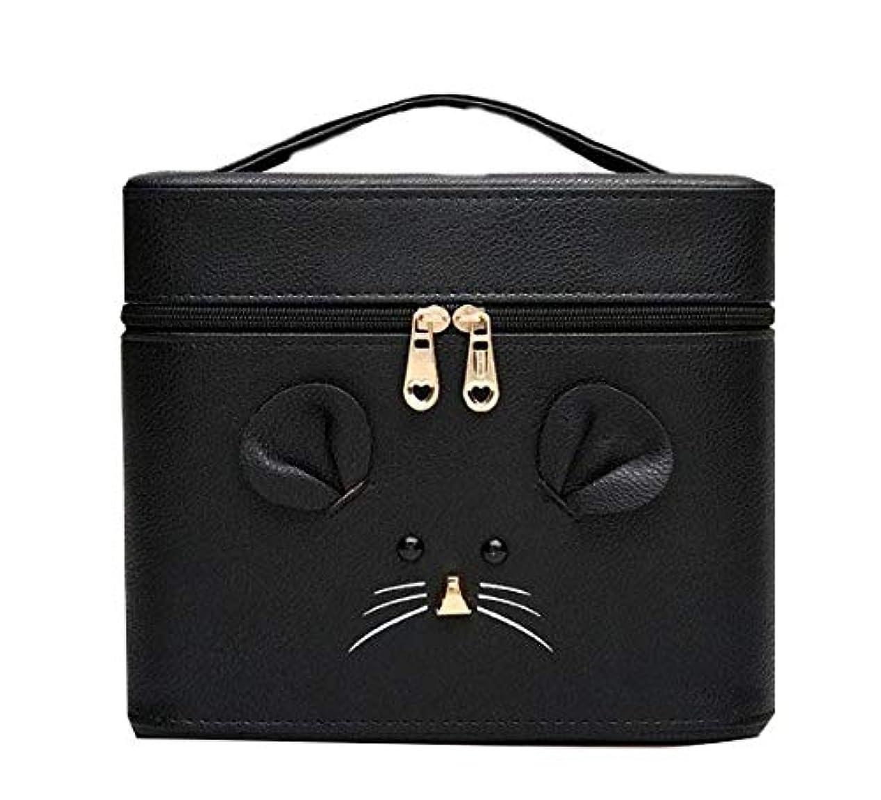 スコア配当疎外する化粧箱、黒漫画のマウス化粧ケース、ポータブル旅行化粧品ケース、美容ネイルジュエリー収納ボックス (Size : S)