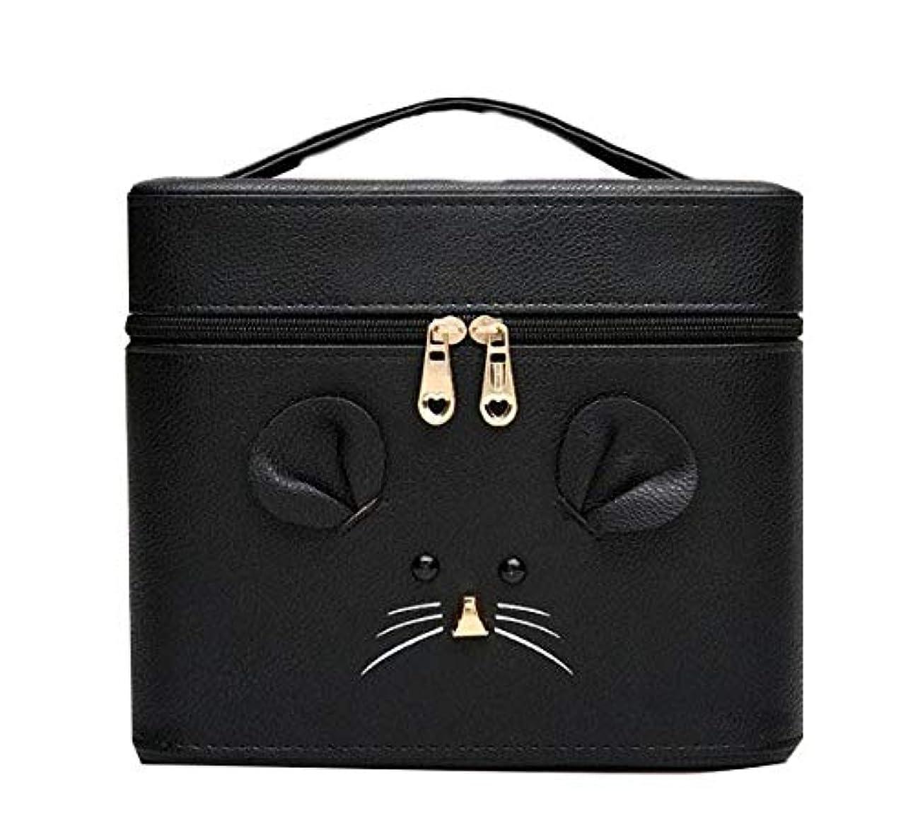 お互いロッド未接続化粧箱、黒漫画のマウス化粧ケース、ポータブル旅行化粧品ケース、美容ネイルジュエリー収納ボックス (Size : S)