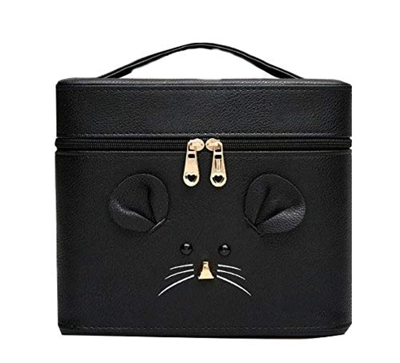 告発資金性差別化粧箱、黒漫画のマウス化粧ケース、ポータブル旅行化粧品ケース、美容ネイルジュエリー収納ボックス (Size : S)