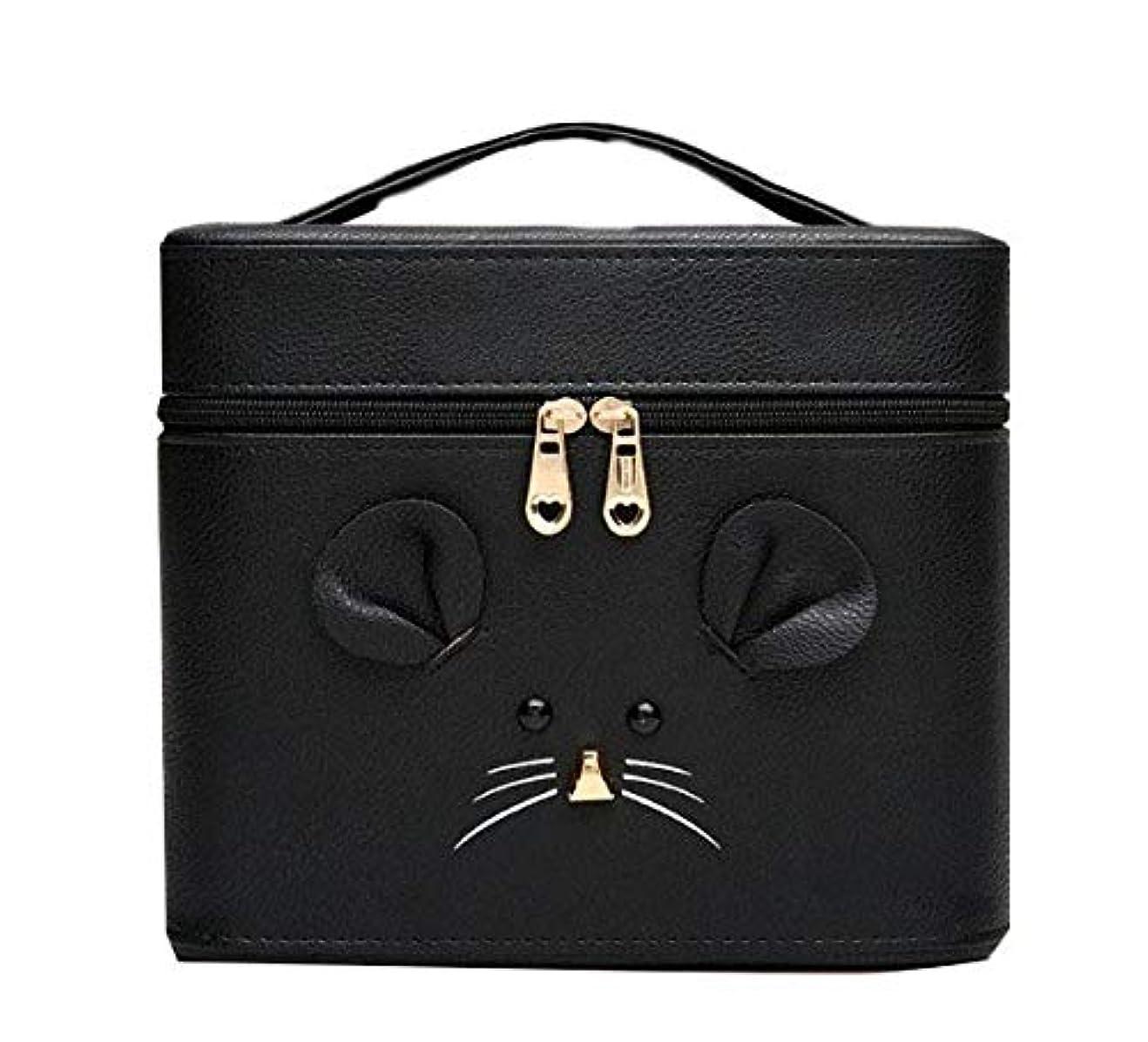 豊かな濃度インポート化粧箱、黒漫画のマウス化粧ケース、ポータブル旅行化粧品ケース、美容ネイルジュエリー収納ボックス (Size : S)
