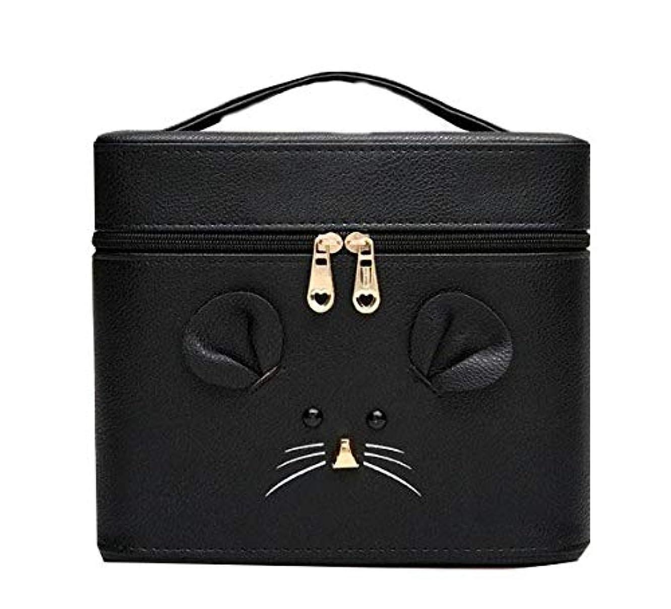 化粧箱、黒漫画のマウス化粧ケース、ポータブル旅行化粧品ケース、美容ネイルジュエリー収納ボックス (Size : S)