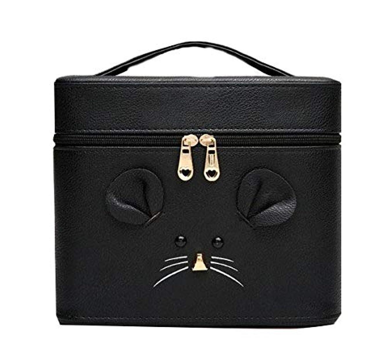 妨げる繁殖強化化粧箱、黒漫画のマウス化粧ケース、ポータブル旅行化粧品ケース、美容ネイルジュエリー収納ボックス (Size : S)