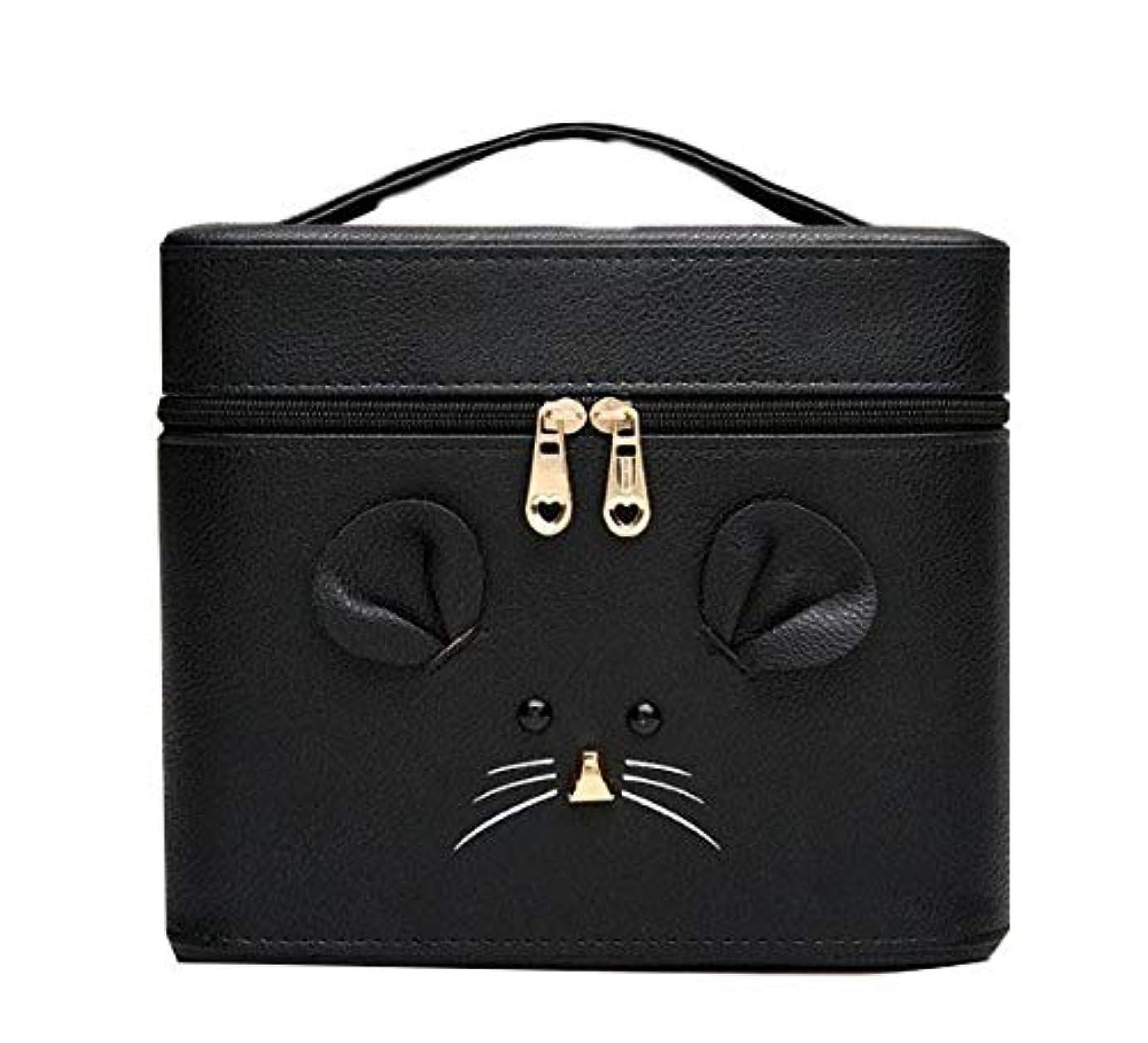 蓋いま早める化粧箱、黒漫画のマウス化粧ケース、ポータブル旅行化粧品ケース、美容ネイルジュエリー収納ボックス (Size : S)