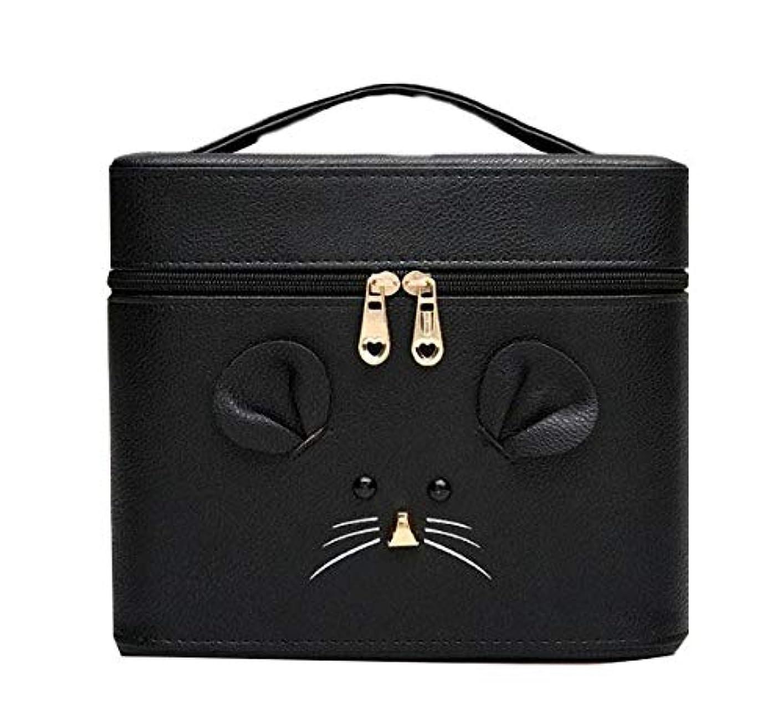 アーチバターウィザード化粧箱、黒漫画のマウス化粧ケース、ポータブル旅行化粧品ケース、美容ネイルジュエリー収納ボックス (Size : S)