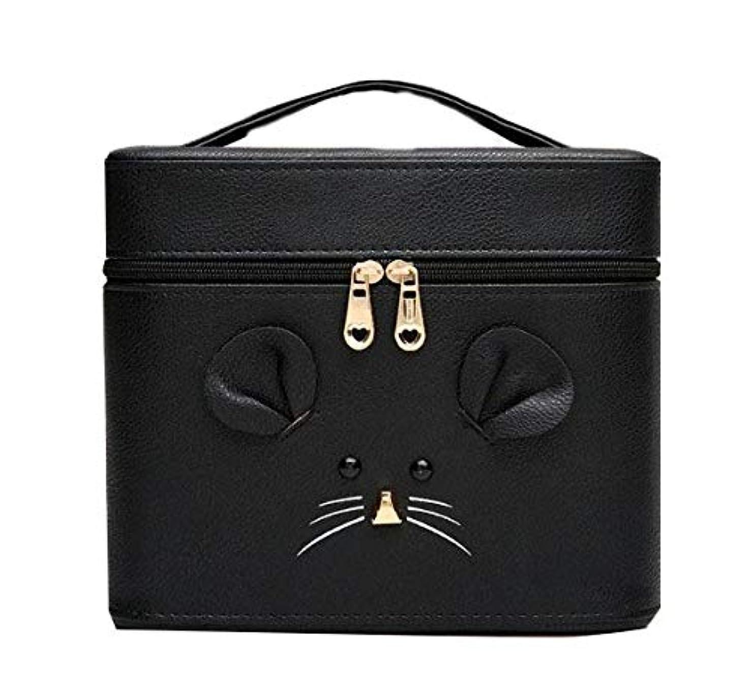 ドラッグアレルギー性砂の化粧箱、黒漫画のマウス化粧ケース、ポータブル旅行化粧品ケース、美容ネイルジュエリー収納ボックス (Size : S)