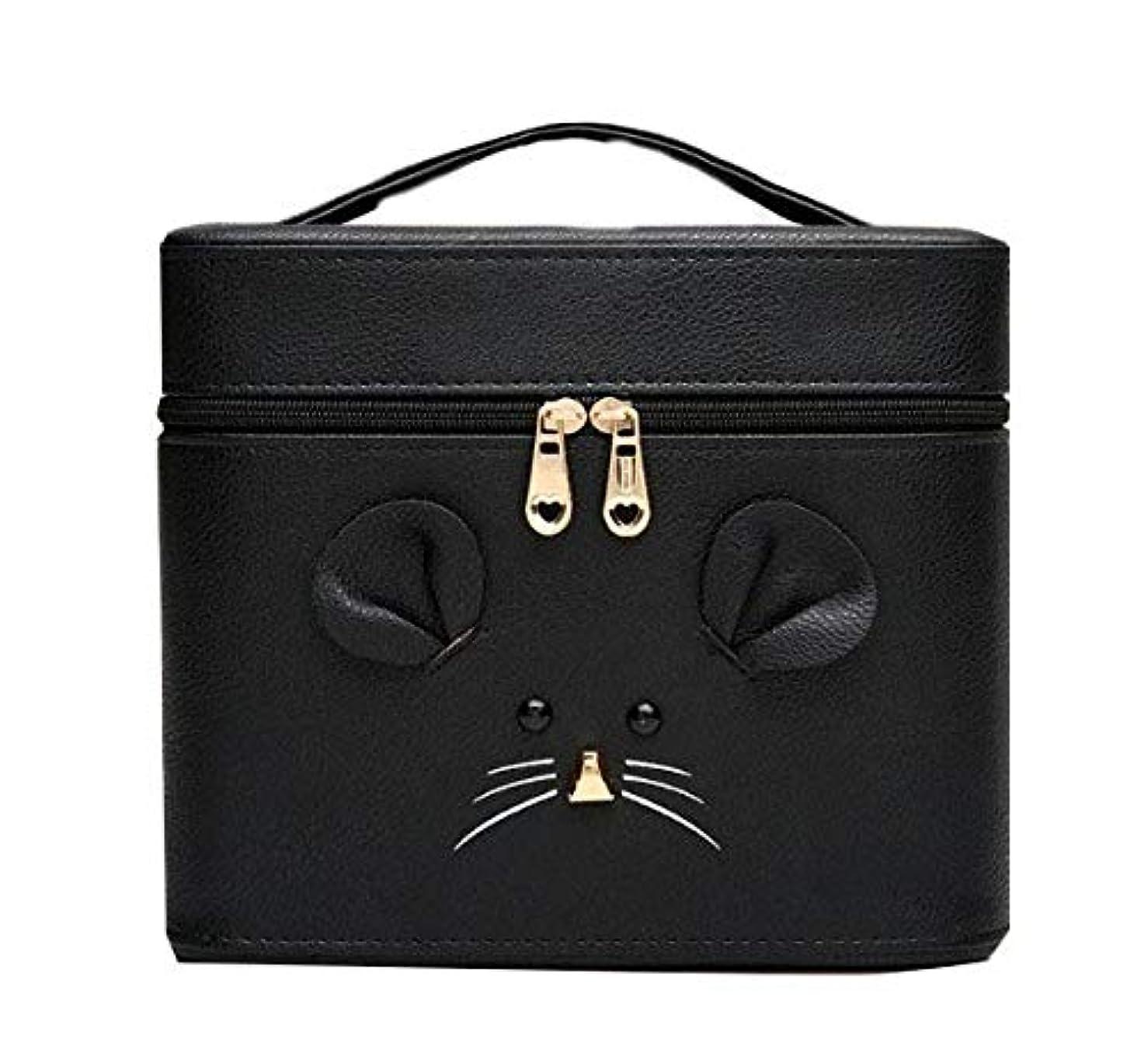 改善するエンティティターゲット化粧箱、黒漫画のマウス化粧ケース、ポータブル旅行化粧品ケース、美容ネイルジュエリー収納ボックス (Size : S)