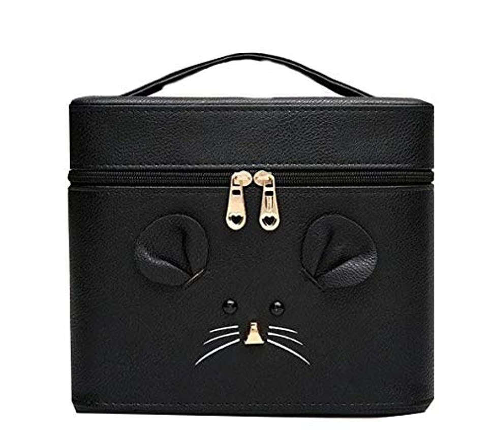 想定良心素晴らしき化粧箱、黒漫画のマウス化粧ケース、ポータブル旅行化粧品ケース、美容ネイルジュエリー収納ボックス (Size : S)