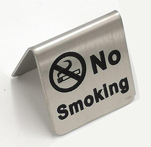 ステンレススチールストーンテーブル金属のデスクトップテーブル禁煙警告看板テーブルスタンドプレート標識...