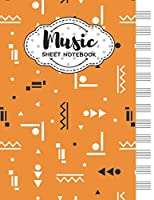 Music Sheet Notebook: Blank Staff Manuscript Paper with Geometric Shapes Themed Cover Design