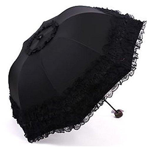 (フミレル)fumirel折りたたみ日傘レースフリルたっぷりレディース(1.ブラック)